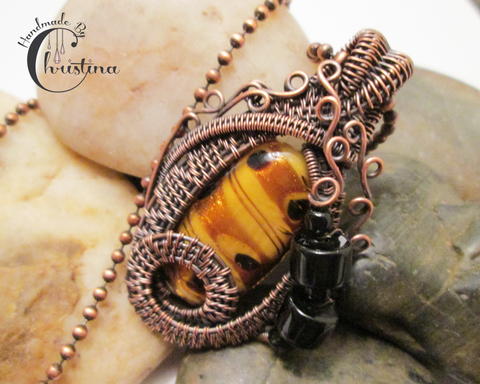 Oxidized Copper Wire Woven & Lampwork Glass Pendant