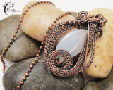 Handmade Oxidized Copper Wire Woven White Agate Pendant Necklace
