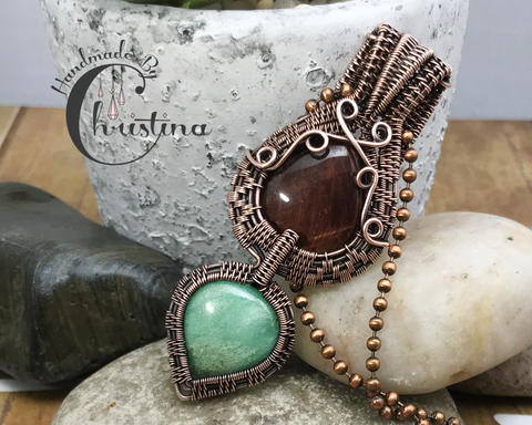 Oxidized Copper Wire Woven Red Tiger Eye & Chrysoprase Two Tier Pendant