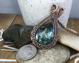 Handmade Oxidized Copper Wire Woven Azurite Pendant Necklace Jewelry