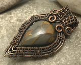 Oxidized Copper Wire Woven Bamboo Jasper Mini Pendant