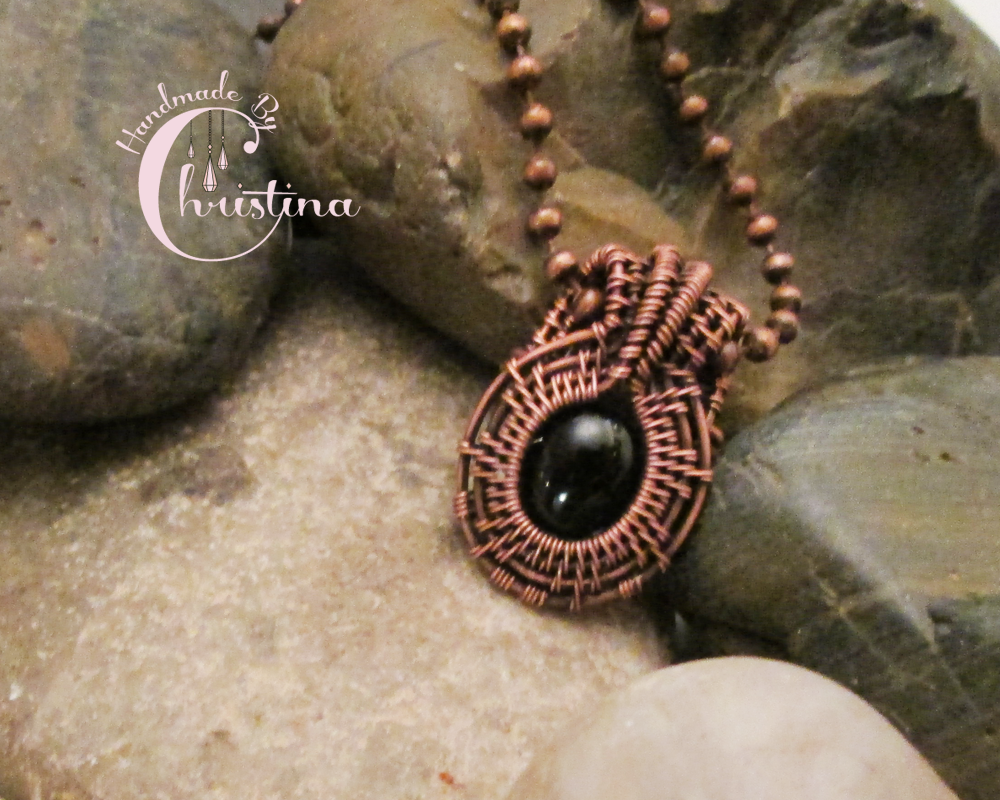 Oxidized Copper Wire Woven & Black Onyx Mini Pendant