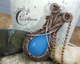 Handmade Oxidized Copper Wire Woven Blue Chalcedony Pendant Necklace Jewelry