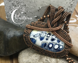 Oxidized Copper Wire Woven Blue Fused Glass Pendant