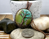Oxidized Copper Wire Woven Turquoise Tree Of Life Pendant Necklace
