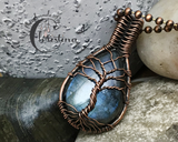 Handmade Oxidized Copper Wire Woven Blue Labradorite Tree Of Life Pendant Necklace