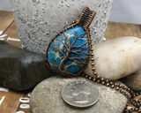 Oxidized Copper Wire Woven Blue Impression Jasper Tree Of Life Pendant Necklace