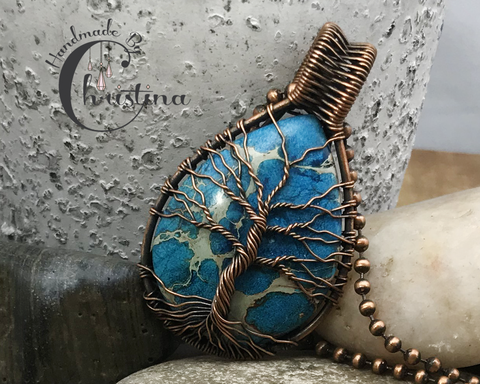 Oxidized Copper Wire Woven Blue Impression Jasper Tree Of Life Pendant