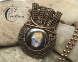 Handmade Oxidized Copper Wire Woven Boulder Opal Gemstone Pendant Necklace