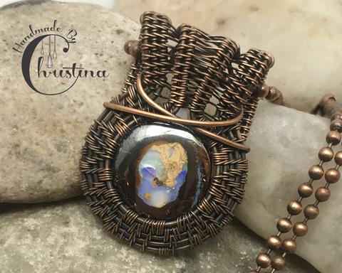 Oxidized Copper Wire Woven Boulder Opal Pendant