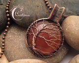 Oxidized Copper Wire Woven & Carnelian Tree Of Life Pendant