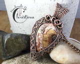 Handmade Oxidized Copper Wire Woven Mexican Crazy Lace Agate Pendant Necklace Jewelry