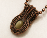 Oxidized Copper Wire Woven Yellow Fiber Optic Glass Micro Mini Pendant