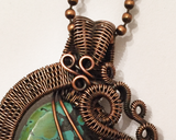 Oxidized Copper Wire Woven Turquoise Pendant
