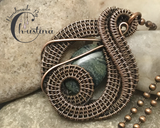 Handmade Oxidized Copper Wire Woven Kambaba Jasper Pendant Necklace