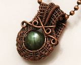 Oxidized Copper Wire Woven Green Labradorite Mini Pendant