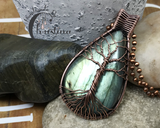 Oxidized Copper Wire Woven Teardrop Green Labradorite Tree Of Life Pendant