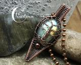 Oxidized Copper Wire Woven Labradorite Tree Of Life Artisan Pendant Necklace
