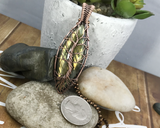 Artisan Oxidized Copper Wire Woven Marquis Labradorite Tree Of Life Pendant Jewelry