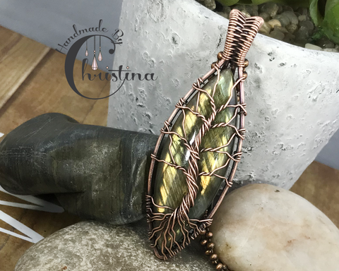 Oxidized Copper Wire Woven Marquis Labradorite Tree Of Life Pendant