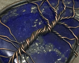 Oxidized Copper Wire Woven & Lapis Tree Of Life Pendant