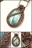 Oxidized Copper Wire Woven Blue Labradorite Pendant