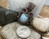 Handmade Wire Woven Oxidized Copper Larimar Swirl Pendant Necklace
