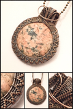 Oxidized Copper Wire Woven Ceramic Pendant