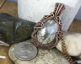 Handmade Oxidized Copper Wire Woven Criss Cross Moss Agate Pendant