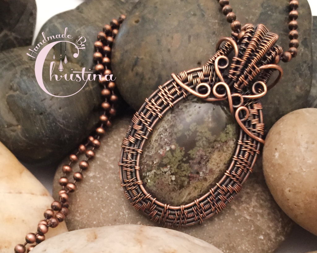 Oxidized Copper Wire Woven Moss Agate Pendant – Handmade By Christina
