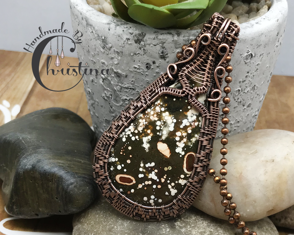 Handmade Artisan Oxidized Copper Wire Woven Ocean Jasper Pendant Necklace Jewelry