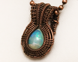 Oxidized Copper Wire Woven Ethiopian Welo Opal Mini Pendant