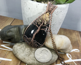 Artisan Oxidized Copper Wire Woven Palm Root Agate Tree Of Life Necklace Jewelry