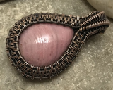 Handcrafted Oxidized Copper Wire Woven Pink Thulite Pendant Necklace