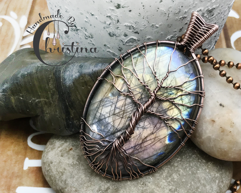 Oxidized Copper Wire Woven Purple Flashing Labradorite Tree Of Life Pendant