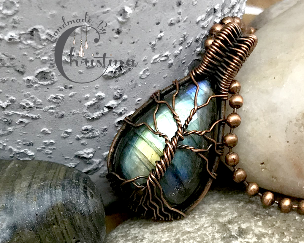 Handmade Oxidized Copper Wire Woven Rainbow Labradorite Tree Of Life Pendant Necklace