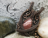 Handmade Oxidized Copper Wire Woven Rhodochrosite Pendant Necklace