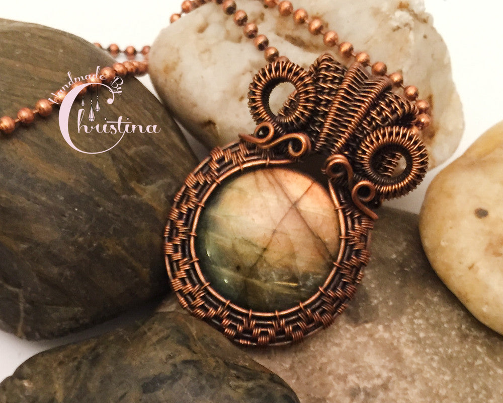 Oxidized Copper Wire Woven & Round Golden Labradorite Pendant