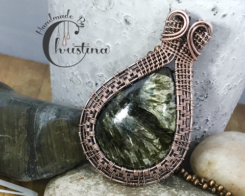 Oxidized Copper Wire Woven Seraphinite Pendant