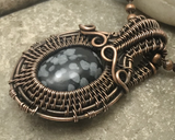 Handmade Oxidized Copper Wire Woven & Snowflake Obsidian Mini Pendant