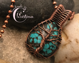 Oxidized Copper Wire Woven & Turquoise Mini Tree Of Life Pendant