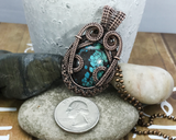 Handmade Oxidized Copper Wire Woven Turquoise Pendant Necklace Jewelry