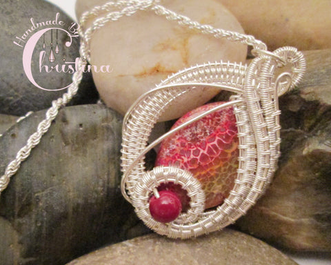 Sterling Silver Wire Woven & Fire Agate Pendant