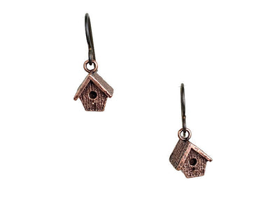 Birdhouse Copper Earrings
