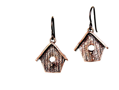 Birdhouse Flat Copper Earrings
