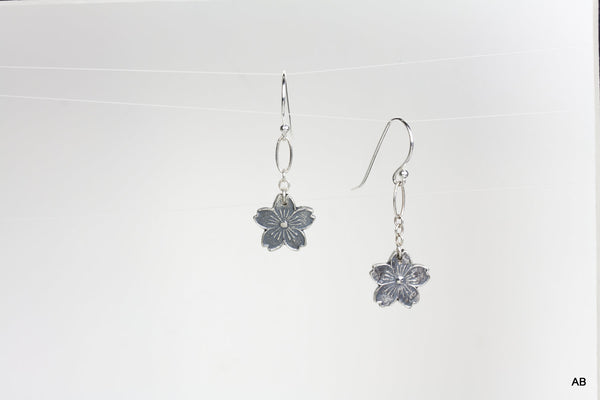 Cherry Blossoms Silver Earrings on Chain