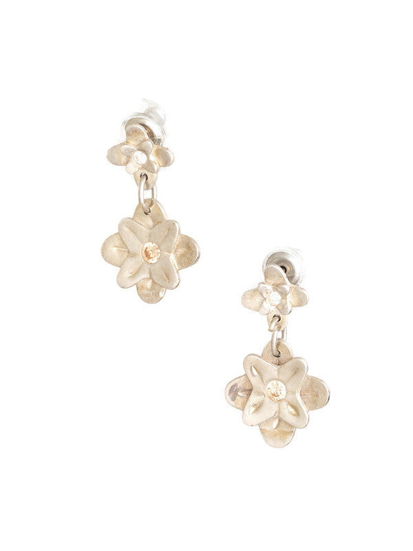 Double Flower Post Earrings Silver
