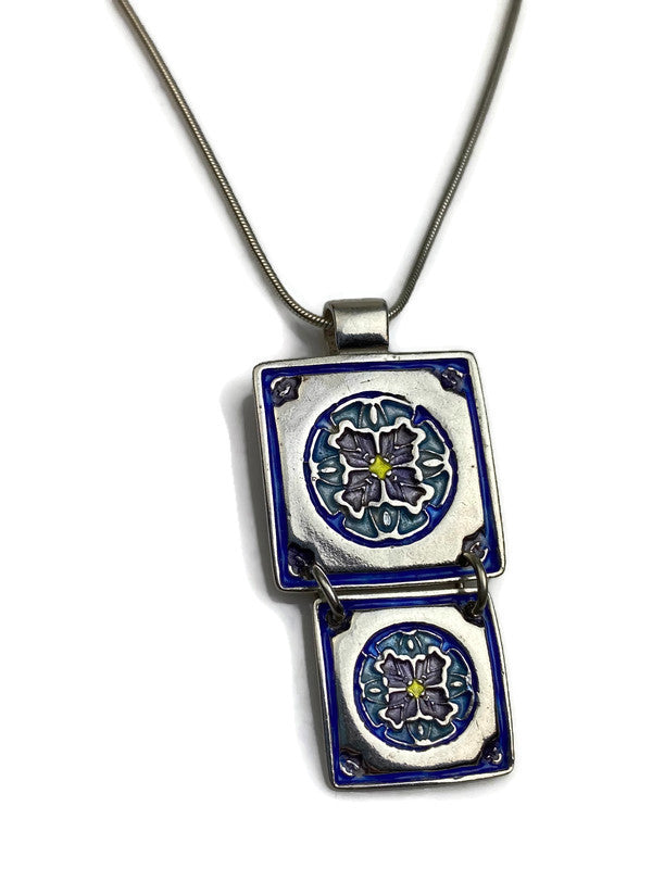 Encompassing Duo Silver Enameled Pendant