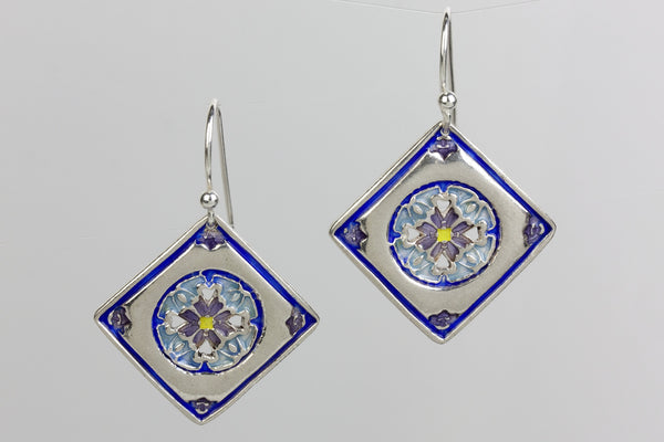 Encompassing Silver Enameled Earrings