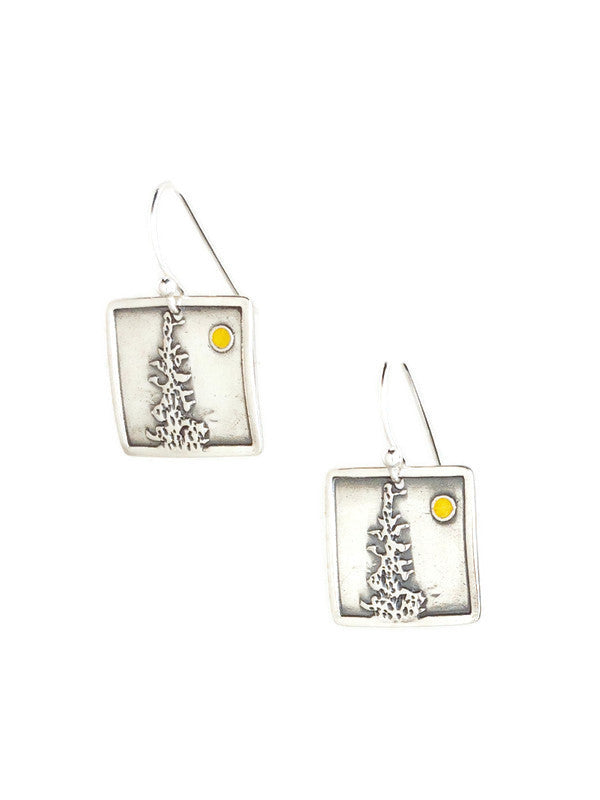Fir and Moon Earrings Silver